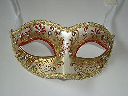 Persiana veneciana de máscara de disfraz ehrin Kelley con lazo y pedrería para~Silver Gold
