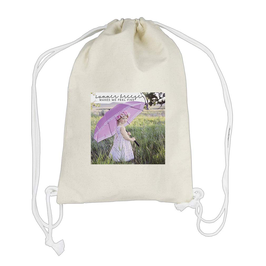 Summer Breeze Makes Fine In The Meadow Cotton Canvas Backpack Drawstring Bag