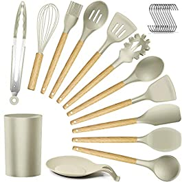 14 Pcs Silicone Cooking Utensils Kitchen Utensil Set, 446°F Heat Resistant,Turner Tongs,Spatula,Spoon,Brush,Whisk…