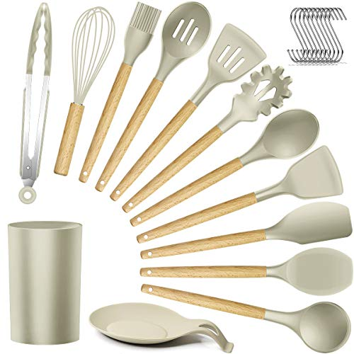 Silicone Kitchen Utensils Cooking Utensil Set - Cooking Utensils Tools with Wooden Handles Include Turner Tongs Spatula Spoon for Nonstick Cookware Non-Toxic Heat Resistant (13 PCS) (And Kitchen Wood White Utensils)