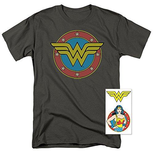 Wonder Woman Vintage Logo DC Comics T Shirt & Exclusive Stickers (Medium) -
