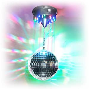 8 led disco mirror ball kit with motor and colored led lights musical instruments. Black Bedroom Furniture Sets. Home Design Ideas
