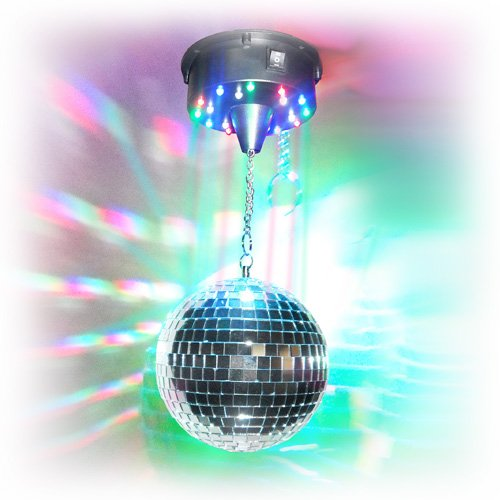 8'' LED Disco Mirror Ball kit with motor and colored LED lights