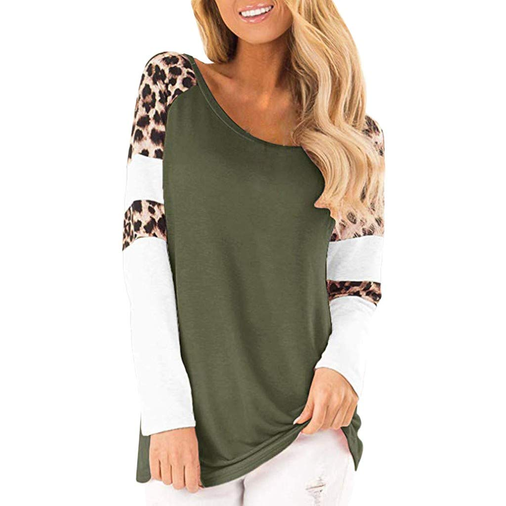 LONGDAY Leopard Color Block Tunic Comfy Stripe T Shirt Women's Tops Long Sleeve Lace Trim O-Neck A-Line Tunic Tops by LONGDAY