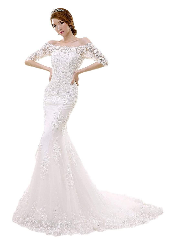 Vimans Women's 2016 Sexy Off Shoulder Mermaid Lace Bridal Wedding Dresses