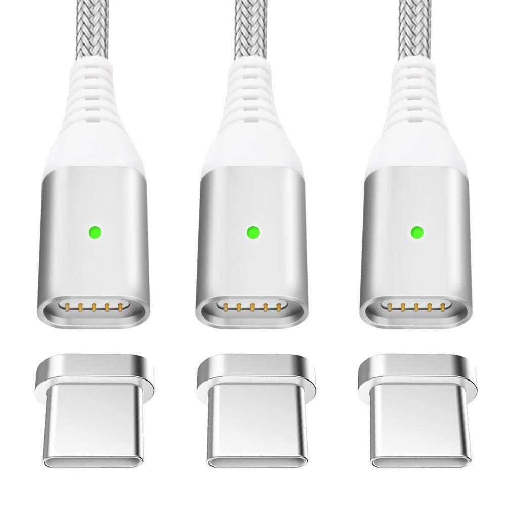 LAMA Cavo di Ricarica Veloce 2 Pacchi 2,4A Cavo Magnetico Nylon Intrecciato Cavo Dati per Micro USB Lightning Tipo C to USB Cavi Adattatori di Ricarica 1,2m//3,9ft Argento Solo Cavi