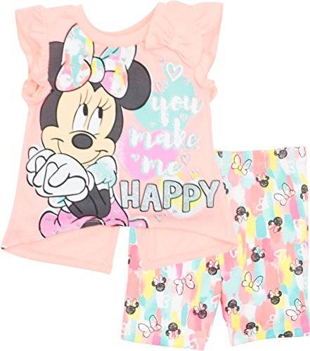Disney Minnie Mouse Toddler Girls' High-Low Ruffle Tunic & Bike Shorts Set (Orange, 2T)