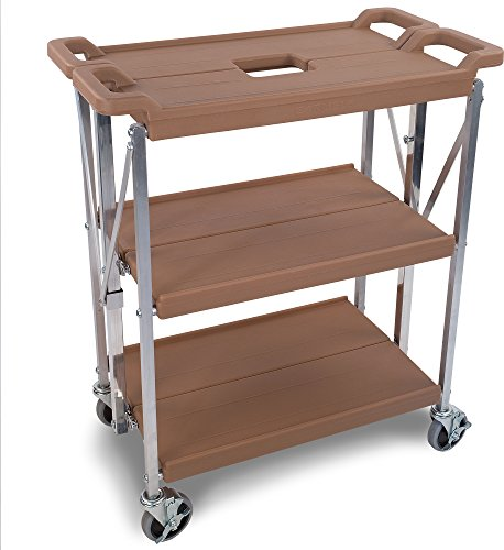 Carlisle SBC152125 Fold 'N Go Collapsible Utility Cart, 350 Pound Capacity, 21'' Length x 15'' Width Shelf, Tan by Carlisle