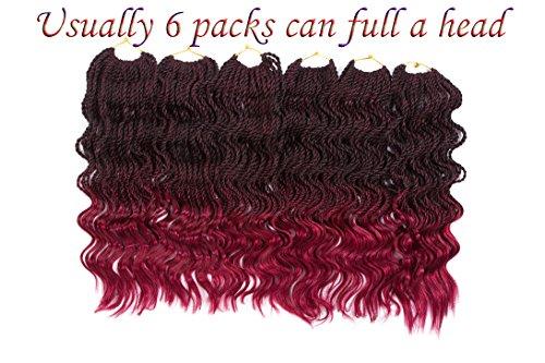 FIRSTCYH 6 Packs Wavy Senegalese Twist Crochet Hair Braids Wavy Ends Free Synthetic Hair Kanekalon Braiding Hair Havana Mombo Dreadlocks Extensions14 inch 35 Strands/Pack. (14, T1B/BUG) (Best Brand Of Kanekalon Hair For Senegalese Twists)