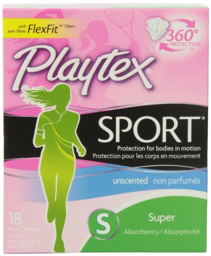 Playtex Sport Tampons with Flex-Fit Technology, Super, Unscented - 18 Count (Pack of 2)