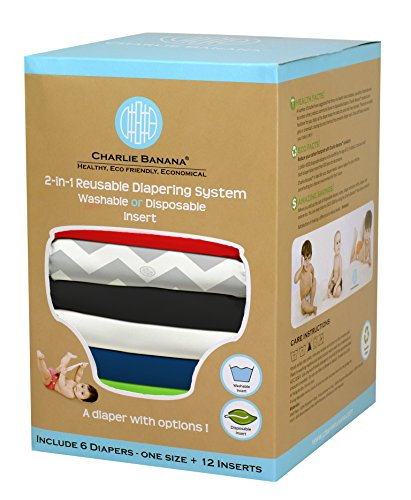 Charlie Banana 2-in-1 6-Piece Reusable Diapers, Super Dude by Charlie Banana