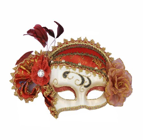 Venetian Costumes For Women (Forum Mardi Gras Costume Masquerade Venetian Half Mask With Feathers and Flowers, Red/White, One Size)