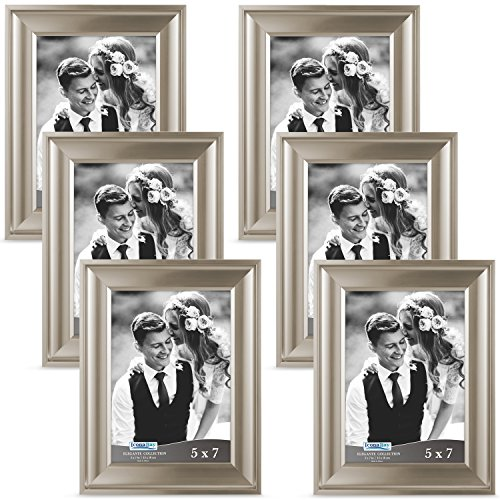 Tabletop Champagne - Icona Bay 5x7 Champagne Picture Frames (5 x 7, 6 Pack, Champagne Finish) Photo Frame, Wall Mount or Table Top, Black Velvet Back, Landscape as 7x5 Picture Frame or Portrait as 5x7, Elegante Collection