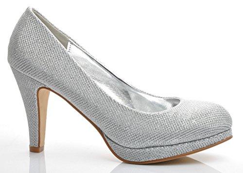 Plateado Brillantes Zapatos de Plataforma Broche de Plumas Talones de la Boda Fiesta