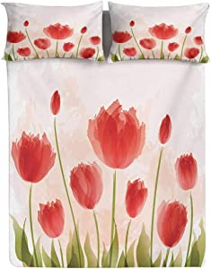 Hiiiman Floral Fitted Sheet Twin Size,Romantic Tulip Bloom Flower Meadow Fresh Feminine Buds Watercolor Effect Decorative Printed 2 Piece Bedding Decor Set,Elasticized Deep Pocket Fits All Mattresses