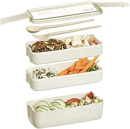 Bento Box a Prueba de Fugas,Bento Box de Estilo Japonés,Lonchera de Silicona, Lonchera con Compartimentos,Creative Bento Box,con Cubiertos,Adecuado ...