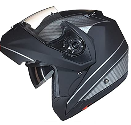 59-60cm L Bianco Lucido Qtech Casco MODULARE per Moto con Integrale Doppia Visiera