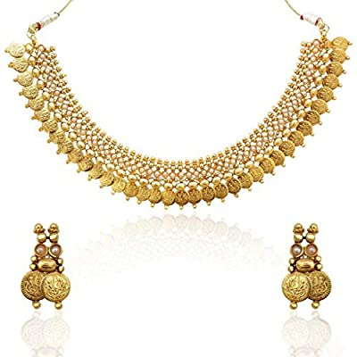 Adiva Women's Ginni Lakshmi Coin Motif South Indian Temple Collection Bridal Necklace Set C18 White