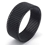 Jewelry 8mm Flexible Stainless Steel Screen Mens Womens Ring, Woven Mesh Band, Black