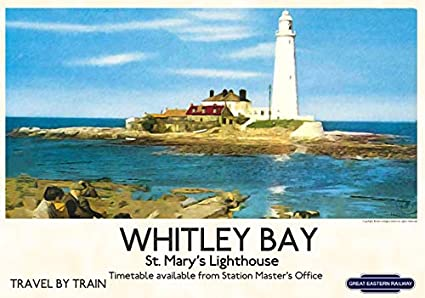 Old Railway Travel Poster reproduction Whitley Bay