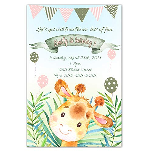 30 invitations giraffe birthday party personalized girl watercolor photo paper