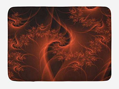 Ambesonne Burnt Orange Bath Mat, Digital Fractal Image with Swirling Turning Moving Floral Lines Modern Graphic, Plush Bathroom Decor Mat with Non Slip Backing, 29.5 W X 17.5 L Inches, Orange]()