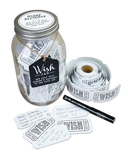 Best Wishes Gift - TOP SHELF Happy Birthday Wish Jar ; Unique Gift Ideas for Mom, Dad, Sister and Brother ; Memorable Gifts for Men and Women ; Kit Comes with 100 Tickets and Decorative Lid