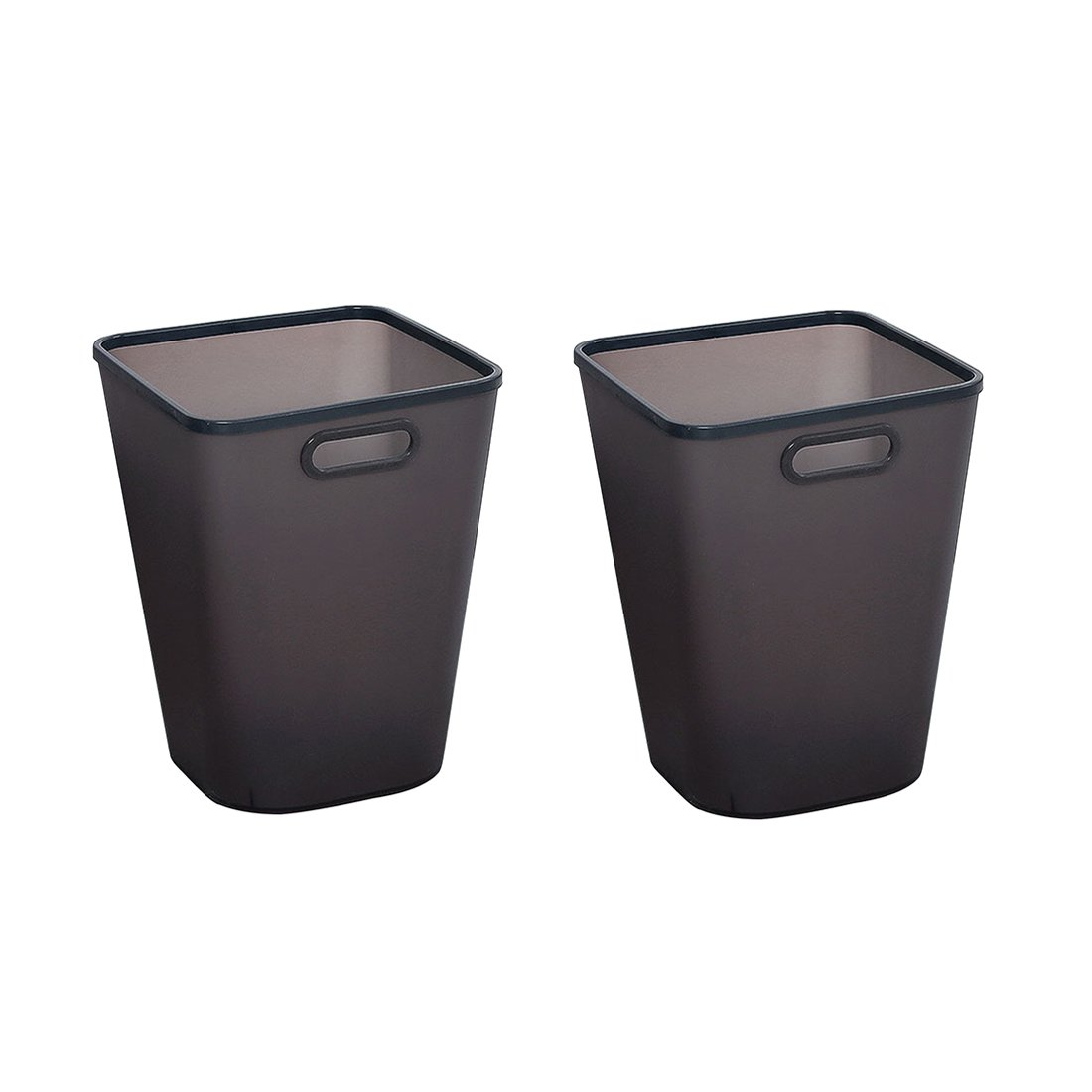 Lingxuinfo Large Capacity Trash Can Wastebasket Dustbin Garbage Bin for Home, Kitchen, Office - Pack of 2, Shatter-Resistant Plastic, Black