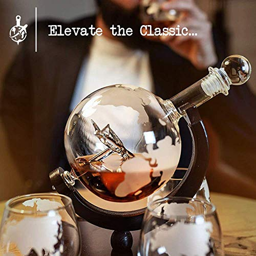 Globe Whiskey Decanter Set w/Boeing 747 Airplane Inside – Includes 4 Earth Etched Whiskey Glass Set – Elegant Whiskey Decanter Globe, Whiskey Glasses & Dark Brown Wood Base (Holds 850ml) by Live in Sync (Image #6)