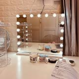 FENCHILIN Large Vanity Mirror with Lights, Hollywood Lighted Makeup Mirror with Dimmable LED Bulbs for Dressing Room & Bedroom, Tabletop or Wall-Mounted, Slim Metal Frame Design, White