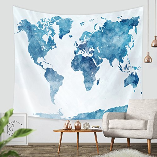 Tapestry Wall Hanging Map-ZBLX World Map Hanging Tapestry Wall Art For a Home Decorations-Light-weight Polyester Fabric-Blue (51.2