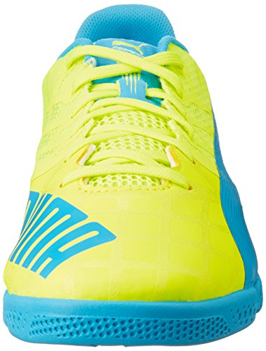 Puma Evospeed Sala 3.4 - Zapatos de Futsal Mujer Amarillo - Gelb (safety yellow-atomic blue 06)