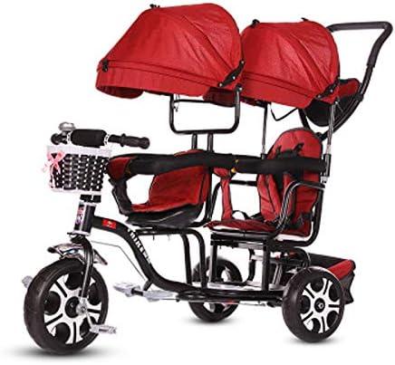 JHGK Triciclo para Niños, Carro De Sombrilla Doble, Bicicleta para Niños, Compras En La Ciudad Doble De Acero con Alto Contenido De Carbono, Empuje El Triciclo Tricycle,1
