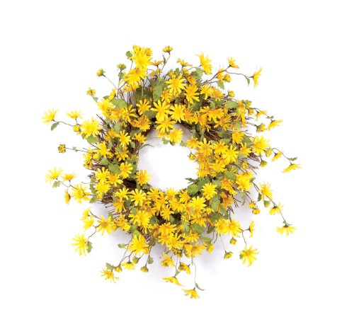Melrose International Daisy Polyester Wreath Wispy Yellow