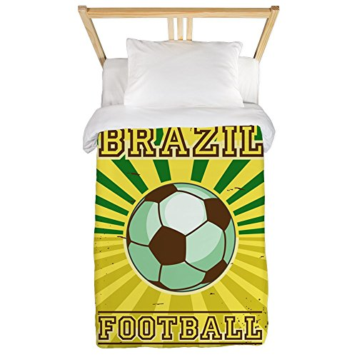 Twin Duvet Cover Brazil Football Soccer Lorem Ipsum by Royal Lion