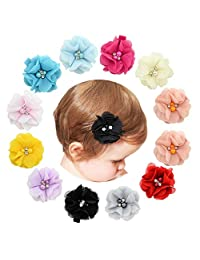 12pcs Baby Girl Chiffon Flowers Lined Hair Bows Clips for Teens Girls Babies Toddlers
