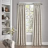 Eclipse 15455052095IVY Mallory 52-Inch by 95-Inch Blackout Floral Single Window Curtain Panel, Ivory