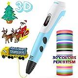 AGPTEK 3D Printing Drawing Pen for Kids, 3D Pen 30 Colors 300 Feet PLA Filament Refills, Non-Clogging for Kids, Adults, Doodling, Artist, DIY, Drawing etc