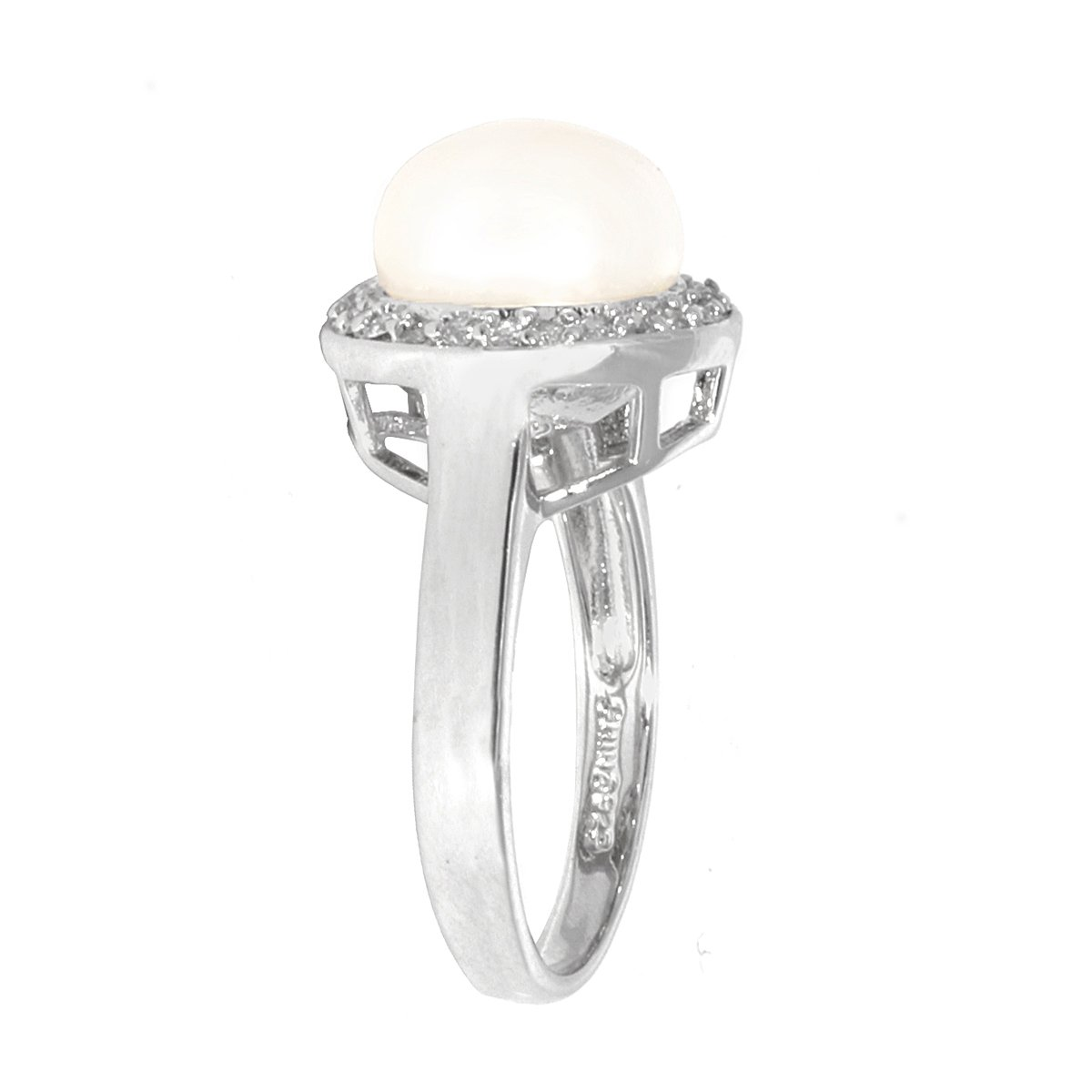 Sterling Silver White Freshwater Cultured Pearl with Cubic Zirconia Ring, Size 8