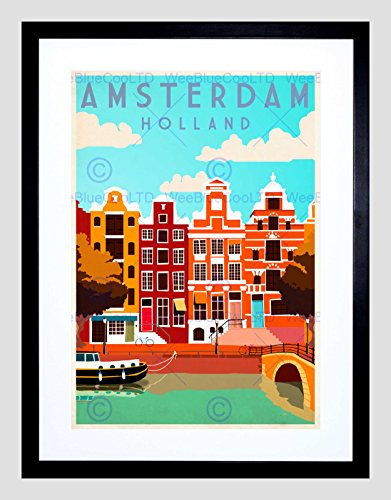 TRAVEL AMSTERDAM HOLLAND NETHERLANDS CANAL BRIDGE BOAT HOUSE BLACK FRAME ART PRINT PICTURE + MOUNT B12X7906