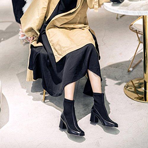 Botas Casual Mujer Black Elásticos KJJDE Q3408 Elegante 38 Otoño Botas Calcetines Invierno WSXY Hqdngz8A