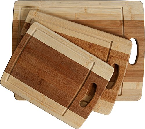 (CC Boards 3-Piece Bamboo Cutting Board Set: Wooden butcher block boards with juice groove and handle; Slice veggies, bread or meat; great for serving cheese and crackers)
