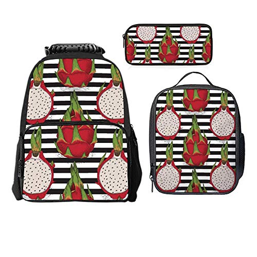 - SARA NELL Dragon Fruit Or Pitaya Black And White Stripe Boys Girls Backpack Daypack Set 3 Pieces School Bookbag Lunchbox Pencil Bag