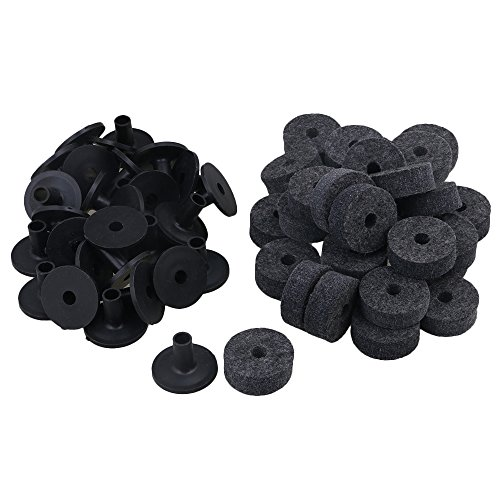 Yibuy Black Drum Set Replacement Parts 15mm Thick Felt Washers + Plastic Long Flanged Cymbal Sleeves Pack of 10