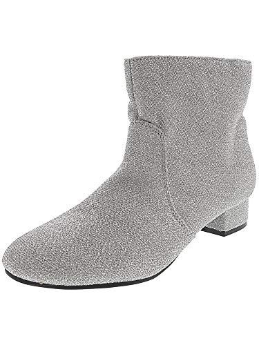 Nine West Girls' Alexius Fashion Boot, Silver Sparkle, M110 M US Little - Boots Rubber West Nine
