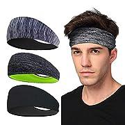 LATTCURE Sports Headband 3 Pack, Headband, Sweatband, Non Slip Headwear Head Band, Turban Winter Headband for Football…