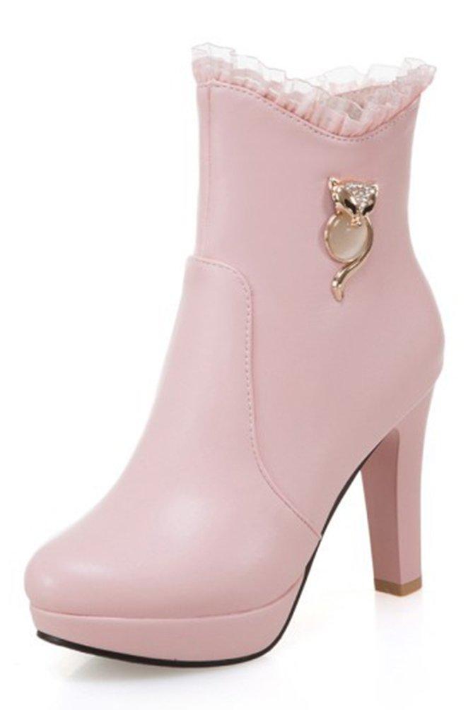 SHOWHOW Damen Szrass Spitze Plateaustiefel Kurzschaft Stiefel Mit Absatz Pink 38 EU MmuMnhkaFE
