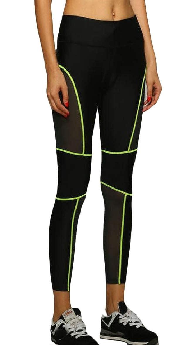 pujingge Womens Mesh Patchwork Jogging Summer Skinny Workout Yoga Legging