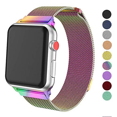 DELELE Compatible for SmartWatch Band 38mm 42mm 40mm 44mm, Milanese Loop Magnetic Metal Replacement Strap with Magnet Lock for iwatch Series 4/3 / 2/1 Women Men (Rainbow, 42mm/44mm)