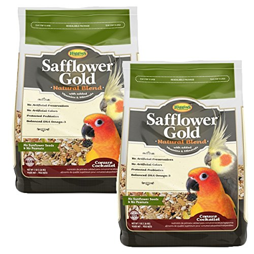 Higgins Safflower Gold Natural Food Mix for Conures & Cockatiels - Double Pack